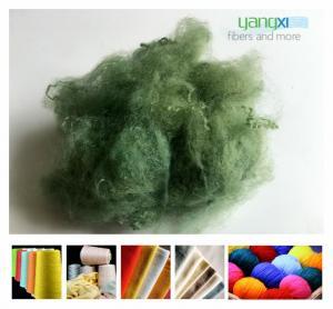 1.5D * 38MM Green Color Polyester Fiber , PSF Polyester Staple Fiber For Yarn Manufactures