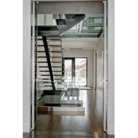 Inside straight staircase wooden stair with glass railing design Manufactures