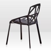 China Hollow Modern Metal Dining Chairs , Black Metal Leg Dining Chair on sale
