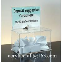 China Customed design clear acrylic ballot box with holder, perspex suggestion box on sale