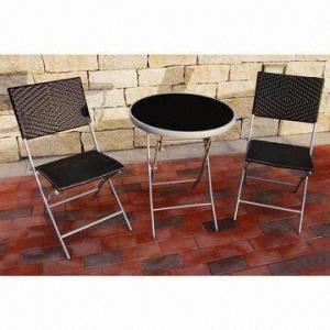 3pcs Steel Rattan, Bistro Sets, 1T+2C/Set Outdoor Rattan Furniture Manufactures