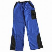 Trousers with Knee Pocket, Contrast Part on Bottom and T/C 65/35 Twill 240g/m² Fabric Manufactures