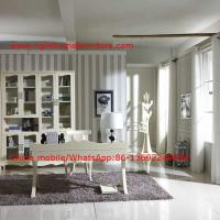 Quality Reading room Neoclassical Furniture by White Bookcase set with glass door and Computer working desk for sale