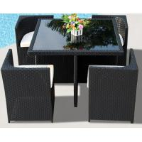 Cube shaped luxury outdoor patio wicker banquet table and chair set rattan saving space furniture Manufactures