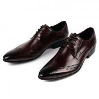 Mens Full Grain Leather Shoes Stylish Brogue Design Men Pointed Formal Dress Shoes Manufactures