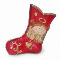 Paper Mache Christmas Stocking with Snowman Decoration and 12-inch Height Manufactures