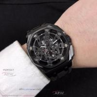 Perfect Replica Audemars Piguet Royal Oak Offshore Black Hollow Dial 43mm Mineral Crystal Glass Watch Manufactures