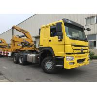 China Yellow 40ft Truck Mounted Crane 3 Axle Self Loading Container Truck Trailer on sale