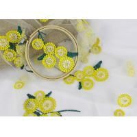 Beatiful Sunflower 3D Embroidered Lace Fabric For Wedding Garment Decoration Manufactures