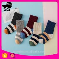 China 2017 High Quality 69%cotton 25%Polyester 6%Spandex Striped Jacquard Sweat-absorbent Winter  Baby Children Stylish Socks on sale