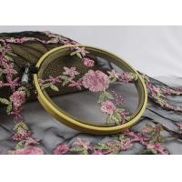 China Embroidered Tulle Multi Colored Lace Fabric Pink Peach Blossom Floral Flower Style on sale
