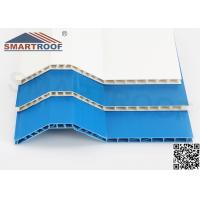 Hollow PVC Roof Sheet , Eco - Friendly Bright Blue Corrugated Roofing Sheets Manufactures