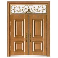 Villa European style metal security door wood grain gate W1500*H560-850mm Manufactures