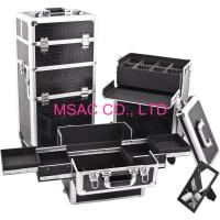 Custom Black Leather Makeup Cases For Makeup Nail , Aluminum Trolley Cases Manufactures