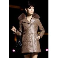2012 New Model, Women′s Leather Down Coat (LLFE-HC003) Manufactures