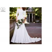 China White Mermaid Long Tail Bridal Gown Long Sleeve Back Zipper With Buttons on sale