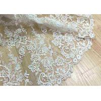 Delicate Ivory Corded Lace Fabric , Floral White Embroidered Tulle Fabric For Wedding Dress Manufactures
