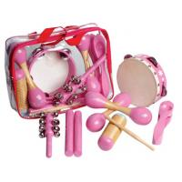 6 Pcs Pink Wooden Percussion Kids Musical Instrument , Customized Pattern Manufactures