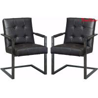 Black Leather Executive Office Chair , Modern Office Meeting Room Chairs Manufactures