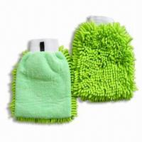 China Chenille and Microfiber Cleaning Gloves, Suitable for Washing and Household Purposes on sale