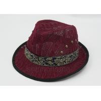 Dark Red Mesh Fisherman Bucket Hat With Silk Ribbon For Summer