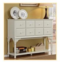 Hallway / Living Room White Console Table With Storageeight Drawer Manufactures