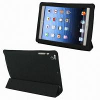 Elegant 4-fold Folio Stand Leather Cases for iPad Mini, Available in Black Manufactures