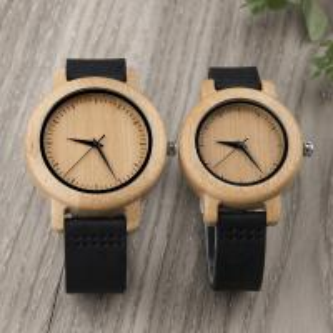 China Fashion Women Quartz Wood Watches With Leather Belt / Couple Wrist Watch on sale