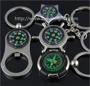 China Metal compass bottle opener keychains, metal compass key rings, zinc alloy, MOQ300pcs. on sale