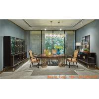 Luxury Ebony wood dining table with Golden stainless steel legs and Leather chairs Wine cabinets for Villa house buffet Manufactures