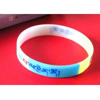 Exercise / Party Custom Silicone Rubber Wristbands Multi Colors Segmented Manufactures