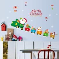 China Indoor Decoration Christmas Wall Stickers PVC 3D Santa Claus Drive Train Pattern on sale