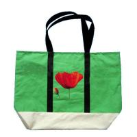 China Customized Green Non Woven Grocery Bags with Silk Screen Printed Logo on sale