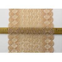 19 CM Champagne Wide Heavy Guipure Lace Trim With Scallop Edging / African Cord Lace Manufactures