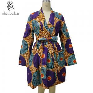 Long Sleeve Midi African Print Dresses Mix Color Ankara Fabric Spring Autumn Manufactures