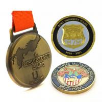 Tailored Bronze Custom Sports Medals Color Filled Soft Enamel With Printing Logo Ribbon Manufactures