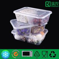 China Two Compartment plastic food container / divided clear plastic box 850ml on sale