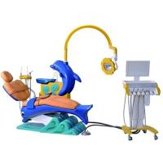 DTC-326 Cute Dolphin Blue Cartoon Children Kids Foshan Dental Chair Unit Manufactures