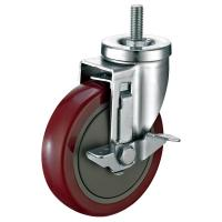 """Red PU Industrial Caster Wheels For Food Service Equipment 5""""X1-1/4"""""""