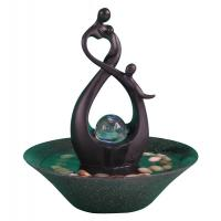 China 10' Happy Family Table Top Water Fountains Sculpture Water Fountain With Fengshui Ball on sale