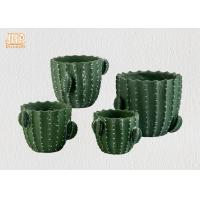 Green Color Cactus Flower Pots Homewares Decorative Items Succulents Plant Pots Cement Table Vases Manufactures