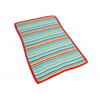 Colorful Crochet Striped Baby Blanket , Knitted Wool Blanket Antibacterial Manufactures