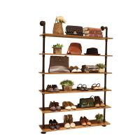 Wood / Metal Indoor Shoe Rack Display Shelves Modern 6 Layers Store Fittings Manufactures
