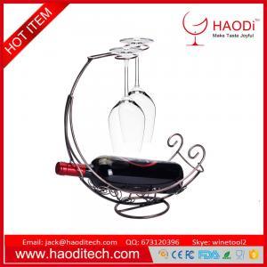 China Bronze Iron Tabletop 2 Wine Glass Display 1 Bottle Wine Holder Drying Rack on sale