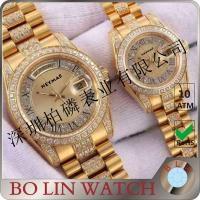 Stainless Steel Case Quartz Gold Watch , Mens Diamond Gold Watch For Couple / Twin Manufactures
