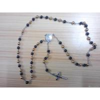 316L Stainless Steel Handmade Black Gold Plating Rosary Beads Saint Ball Chain Necklace Manufactures