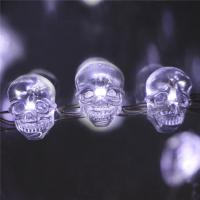 Copper Wire halloween skull Lights battery operated white smd crystal Led halloween lights Manufactures