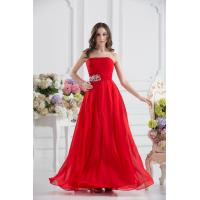 Attractive Strapless Chiffon Floor Length Evening Dress Party Gown Beads Manufactures