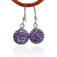 Fashion 8mm Crystal ball silver Drop earrings Manufactures