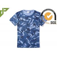 Navy Blue Military Style T Shirts For Summer , Unisex Cool Army T Shirts Moisture Absorbing Manufactures